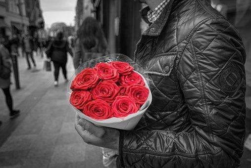 赤い薔薇の花束