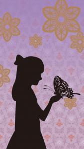 影になった少女が大きな蝶々を手に乗せているイラスト